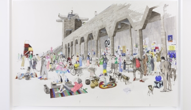 Charles Avery Untitled City Wall market scene 2020 Pencil acrylic ink and watercolour on paper 220 x 350 cm 86 58 x 137 34 in unframed 248.8 x 368 x 10.4 cm 98 x 144 78 x 4 18 in framed CA20008